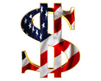 Golden dollar symbol with a flag of the country on a white background. 3d illustration. Golden dollar symbol with a flag of the country on a white background Stock Image