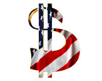Golden dollar symbol with a flag of the country on a white background. 3d illustration. Golden dollar symbol with a flag of the country on a white background Stock Images