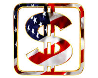 Golden dollar symbol with a flag of the country on a white background. 3d illustration. Golden dollar symbol with a flag of the country on a white background Stock Photography