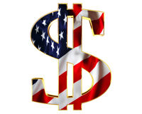 Golden dollar symbol with a flag of the country on a white background. 3d illustration. Golden dollar symbol with a flag of the country on a white background Royalty Free Stock Photography