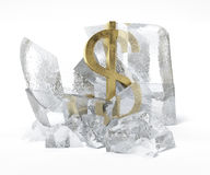 Golden Dollar symbol frozen inside an ice cube Stock Photo