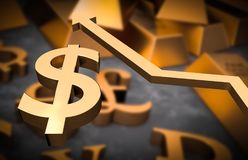 Golden dollar symbol and golden arrow up. Dollar money rise concept Royalty Free Stock Photography