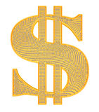 Golden Dollar symbol incrusted with diamonds. Isolated over white Stock Photos