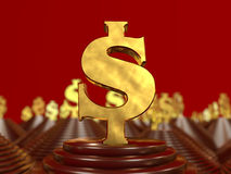 Golden dollar symbol on the pyramid and a red background. 3D illustration Royalty Free Stock Photography