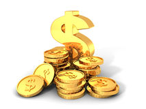 Golden Dollar Symbol With Stacks Of Coins. 3d Render Illustration Royalty Free Stock Photos