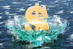 Golden dollar symbol on the water with splashing, 3D rendering. Golden dollar symbol on the water with splashing, 3D Stock Photography