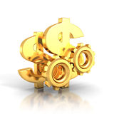 Golden dollar symbols and cogwheel gears on white background Stock Photography