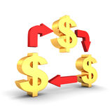 Golden Dollar Symbols With Cycled Red Arrows Business Concept Stock Images