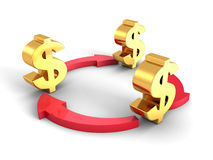 Golden Dollar Symbols With Cycled Red Arrows Royalty Free Stock Photo