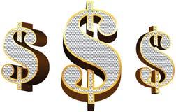 Golden Dollar Vector 3d Royalty Free Stock Photos