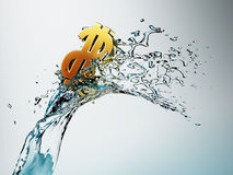Golden dollar on wave. Golden dollar simbol on wave Stock Images