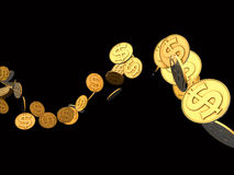 Golden Dollar Wave Stock Image