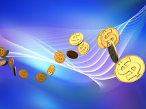 Golden Dollar Wave Stock Images