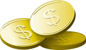 Golden dollars Stock Photography