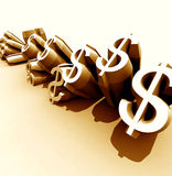 Golden  Dollars Royalty Free Stock Photography