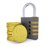 Golden Dollars and combination lock Royalty Free Stock Images