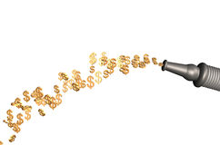 The golden dollars current from a hose Royalty Free Stock Image