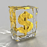 Golden dollars sign in ice. A three dimensional rendering of a golden dollar sign frozen in a block of ice. Suitable for financial or monetary themes royalty free illustration
