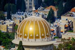 Golden dome of the Bahai shrine, in Haifa stock images