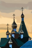 The Golden dome of the Christian Church at sunset royalty free stock photography