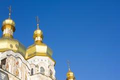 Golden domes of the church in Kiev-Pechersk Lavra, ancient Christian monastery in Kiev, Ukraine stock image