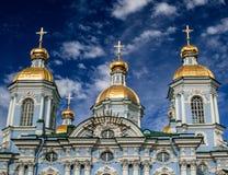 Golden Dome de St Nicholas Cathedral en St Petersburg Fotos de archivo