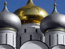 Golden dome (horizontal). Novodevichy Convent known in the days of old as the Convent of the Smolensk Icon of Our Lady, was founded by Grand Prince Vasili Ill In royalty free stock images