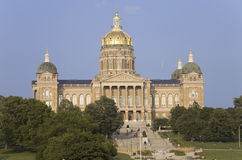 Golden dome of Iowa State Capital building. Des Moines, Iowa Royalty Free Stock Images