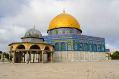Golden dome of Jerusalem. Amazing close view of the Golden Dome Mosque with the small dome near (Jerusalem, Israel Royalty Free Stock Photos