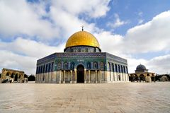 Golden Dome Mosque. Amazing close view of the Golden Dome Mosque place and buildings (Jerusalem, Israel Royalty Free Stock Photo