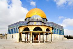 Golden Dome Mosque. Amazing close view of the Golden Dome Mosque with the small dome in front (Jerusalem, Israel Royalty Free Stock Image