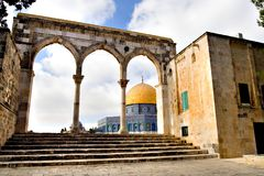 Golden Dome Mosque. Special view of the Golden Dome Mosque, behind its stairs and arches (Jerusalem, Israel Royalty Free Stock Photography