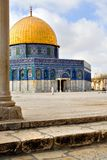 Golden Dome Mosque. Amazing view of the Golden Dome Mosque with stairs and pylone in front (Jerusalem, Israel Royalty Free Stock Image