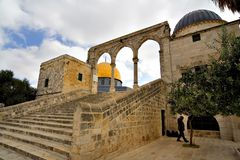 Golden Dome Mosque (Jerusalem). Landscape of the Golden Dome Mosque, with its stairs and arches (Jerusalem, Israel Royalty Free Stock Photos