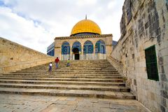 Golden Dome Mosque (Jerusalem). Family going to pray in the Golden Dome Mosque (Jerusalem, Israel Stock Photography