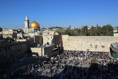 Golden dome mosque and the Wailing Wall Stock Image