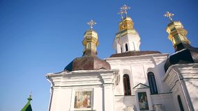 The golden dome of the Orthodox Church sit two birds. Ukraine stock video