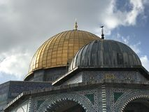 The Dome of the Rock. The golden Dome of the Rock in Jerusalem. AlAqsa Mosque Stock Photos