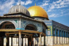 The golden Dome of the Rock set against the silver Dome of the Chain. The later is a prayer house and one of the oldest structures on the Haram ash-Sharif royalty free stock photo