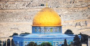 The golden Dome of the Rock set against the silver Dome of the Chain. The later is a prayer house and one of the oldest structures on the Haram ash-Sharif stock photo