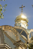 Golden dome the Russian Orthodox Church. Golden dome of the Russian Orthodox Church Stock Photos