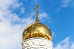 Golden dome of Russian orthodox church with cross Royalty Free Stock Photography