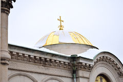 Golden dome with snow Stock Photography