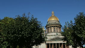 Golden dome of St. Isaac's Cathedral (1818) stock footage