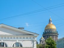 Golden dome of St. Isaac`s cathedral, Russia royalty free stock photo