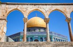 Golden Dome sulla moschea della roccia a Gerusalemme Immagine Stock Libera da Diritti