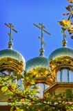 The golden dome on the  wooden russian church Royalty Free Stock Photography