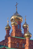 Golden domes. In Fejdosievskaya church in city Perm Royalty Free Stock Photo