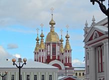 Golden domes adorn the city. In the city of Tambov, many churches. The architecture of religious buildings is diverse, but they all adorn the city royalty free stock image