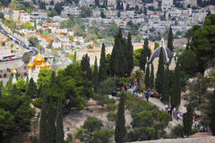 Golden domes. Ancient holy Jerusalem from the Mount of Olives. Golden domes of an Orthodox church of Mary Magdalene stock photo